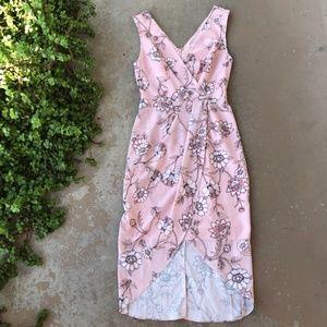 Cooper St Pink Floral Surplice Faux Wrap Dress